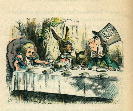 La imagen original de John Tenniel ¡de 1864-5! Este estilo ha acompañado a los libros por más de cien años.