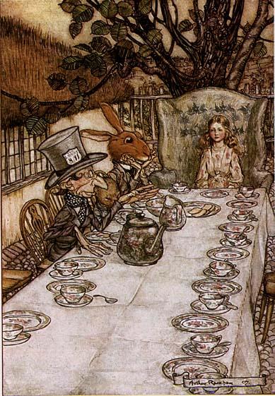 """Fiesta del té imaginada por el legendario Arthur Rackham ¡en 1907! ¿Alguien duda el significado de """"clásico""""?"""